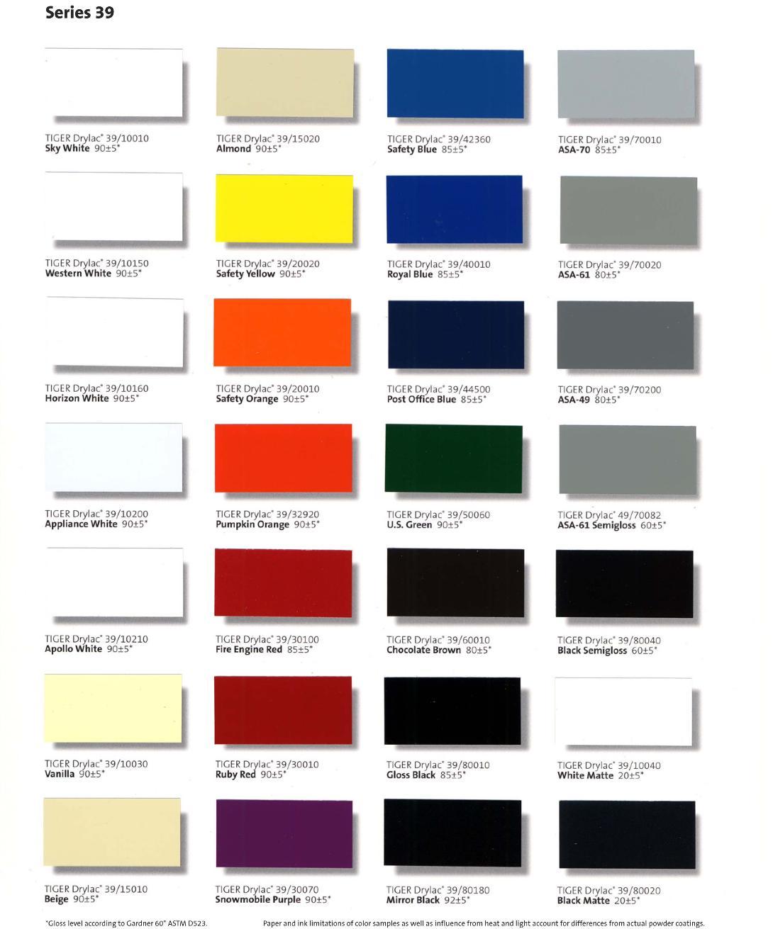 American metal arts powder coating color chart nvjuhfo Image collections